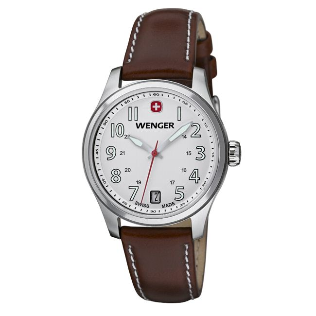 Wenger Women's TerraGraph White Dial Brown Leather Watch - 0521.101