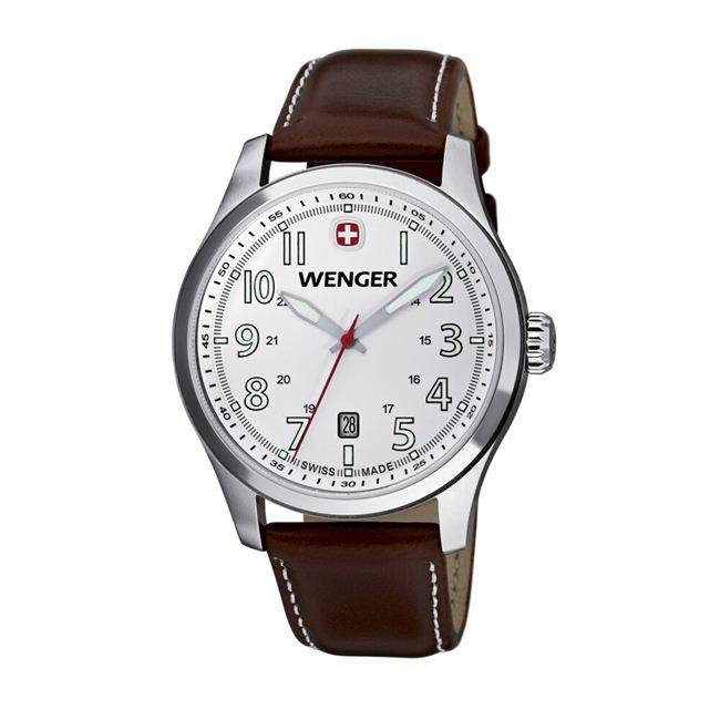 Wenger Men's TerraGraph White Dial Brown Leather Watch - 0541.103