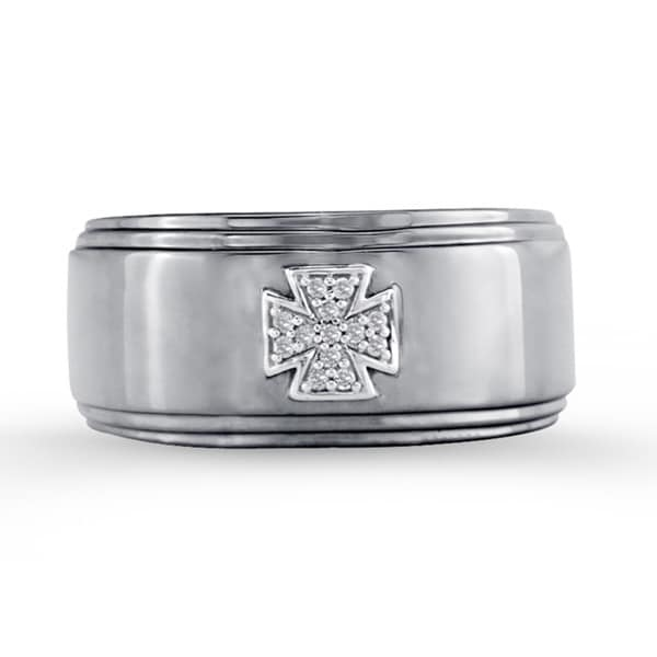 Sterling Silver Men's Diamond Accent Cross Wedding Band