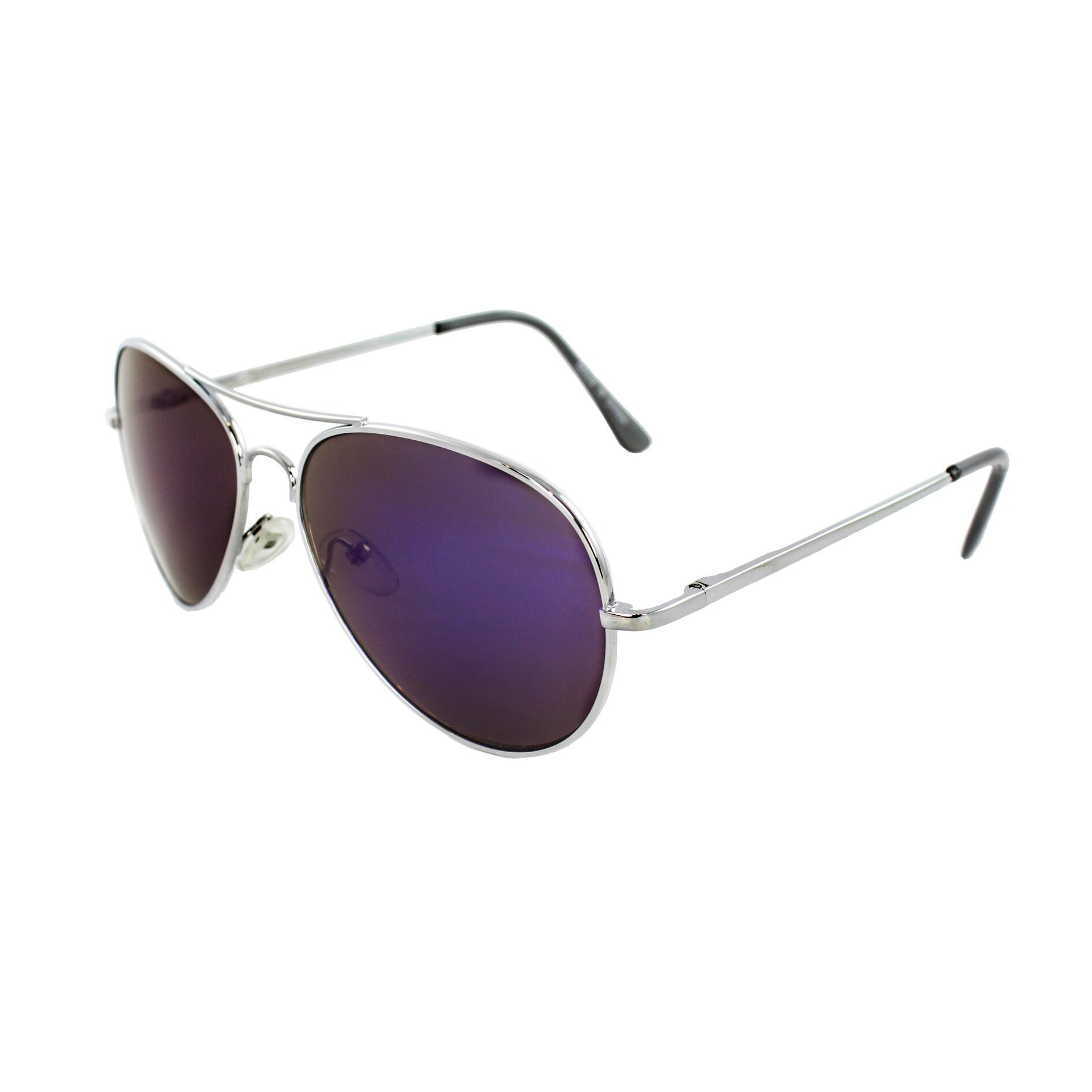 Unisex 30011R-SVRPL Metal/ Purple Mirror Aviator Sunglasses