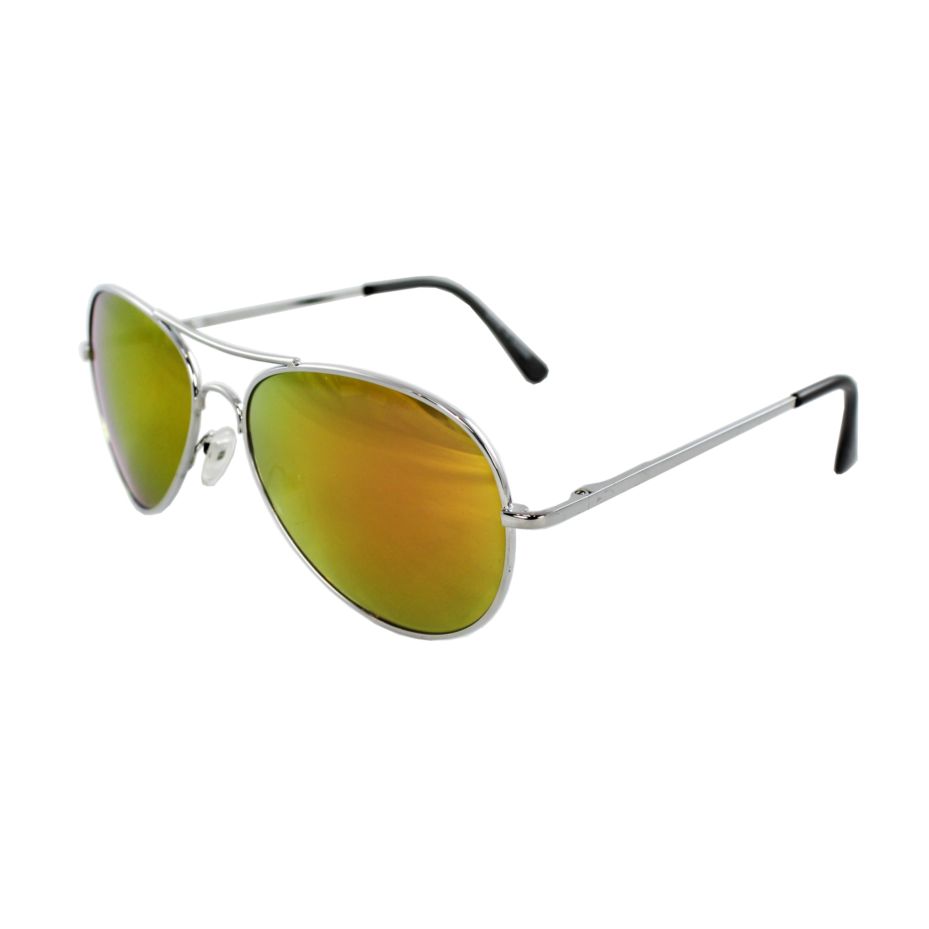 Unisex 30011R-SVRORMR Metal/ Orange Mirror Aviator Sunglasses