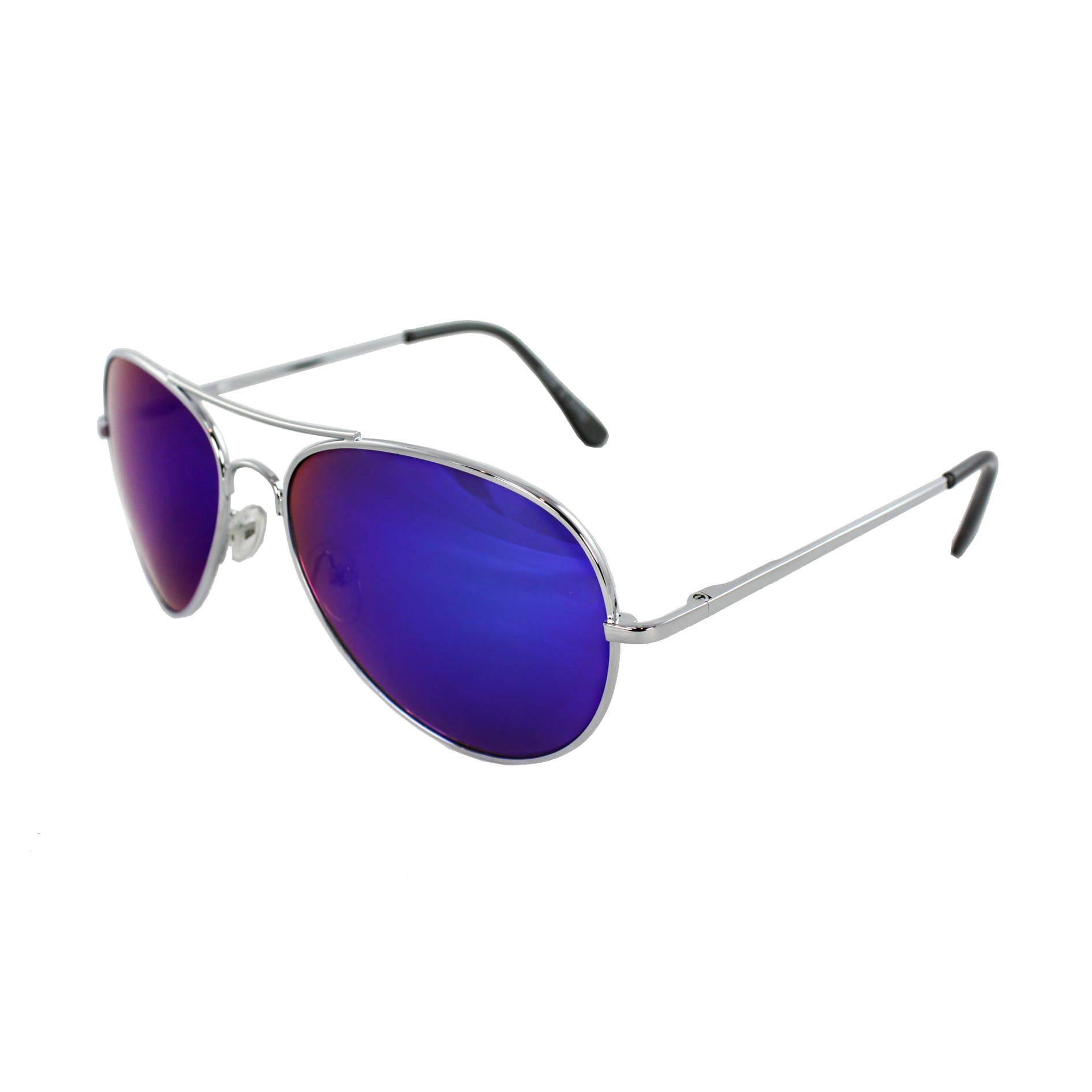 Unisex 30011R-SVRBUGNMR Metal/ Blue Mirror Aviator Sunglasses
