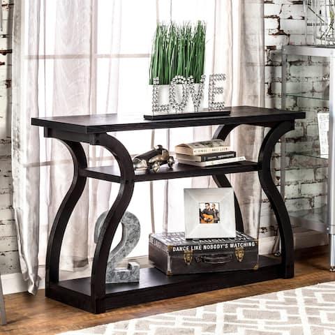Furniture of America Sara Transitional Black 2-shelf Console Table