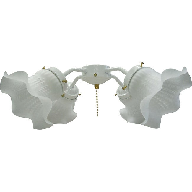 Four-Light White Tulip Glass Ceiling Fan Light Kit - Thumbnail 0