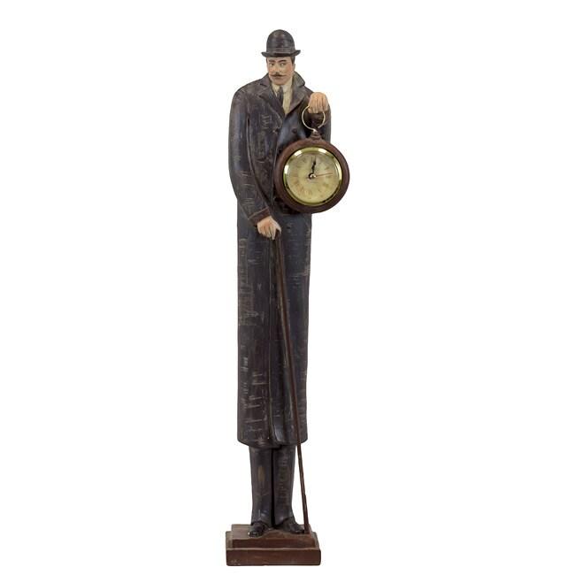 Urban Trend Brown/Black/Tan Resin Man with Clock Sculpture