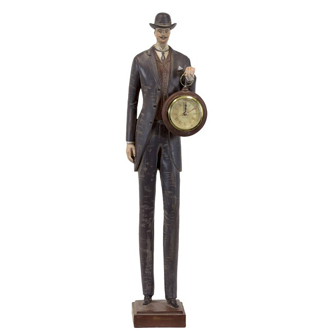 Urban Trend Resin Man with Clock Sculpture