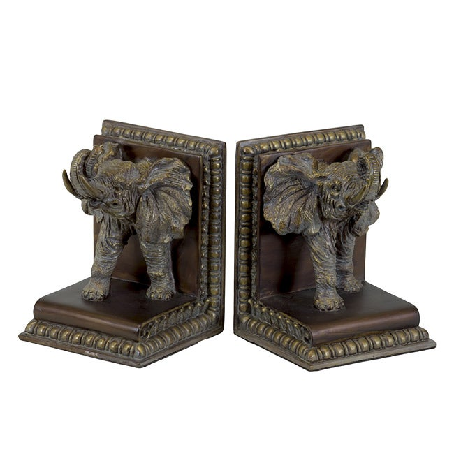 Resin Elephant Bookend Set