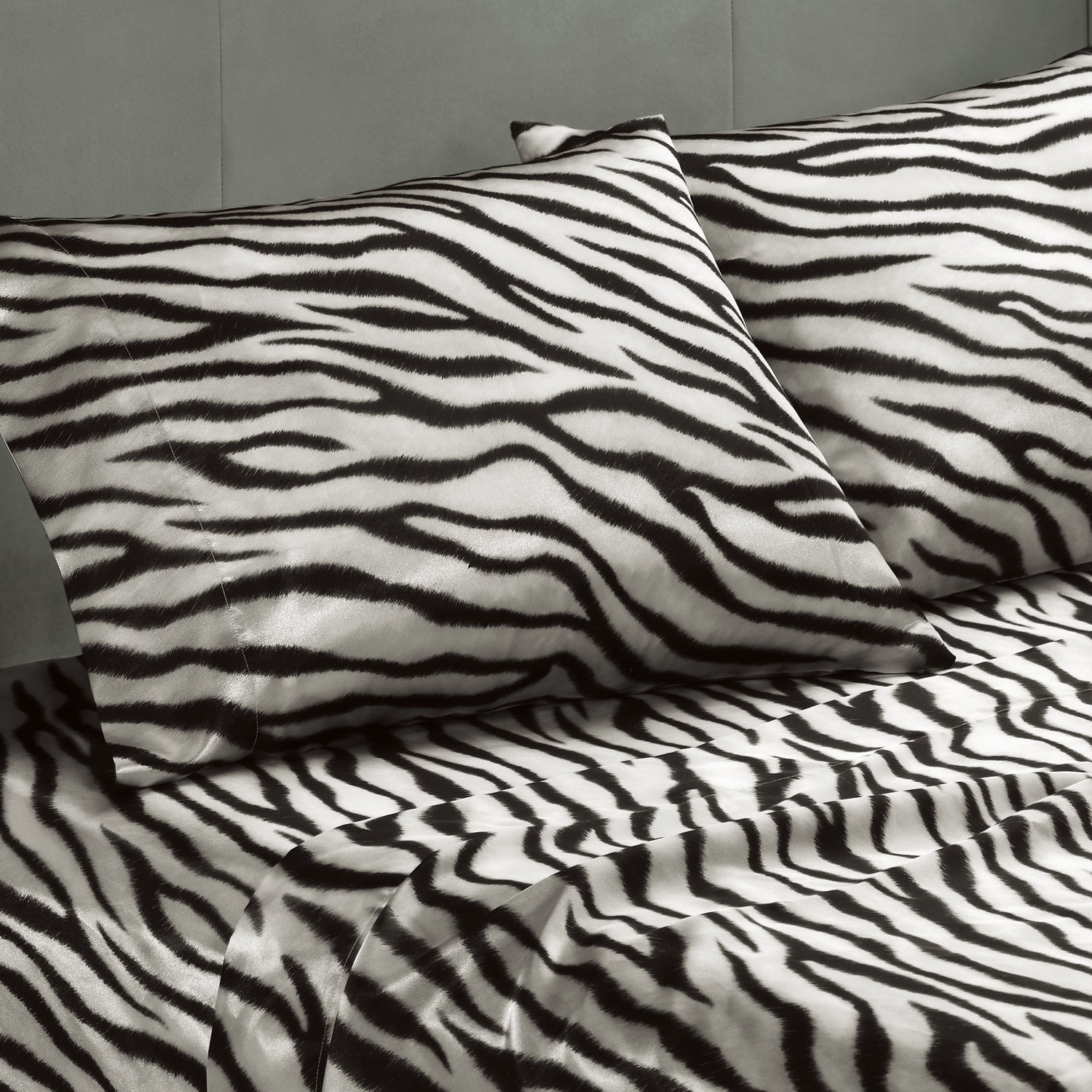 Premier Comfort Zebra Polyester Textured Satin 6-piece King-size Sheet Set