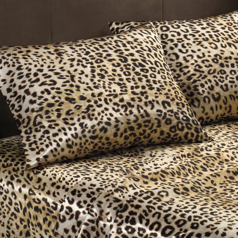 Premier Comfort Cheetah Polyester Textured Satin 6-piece King-size Sheet Set