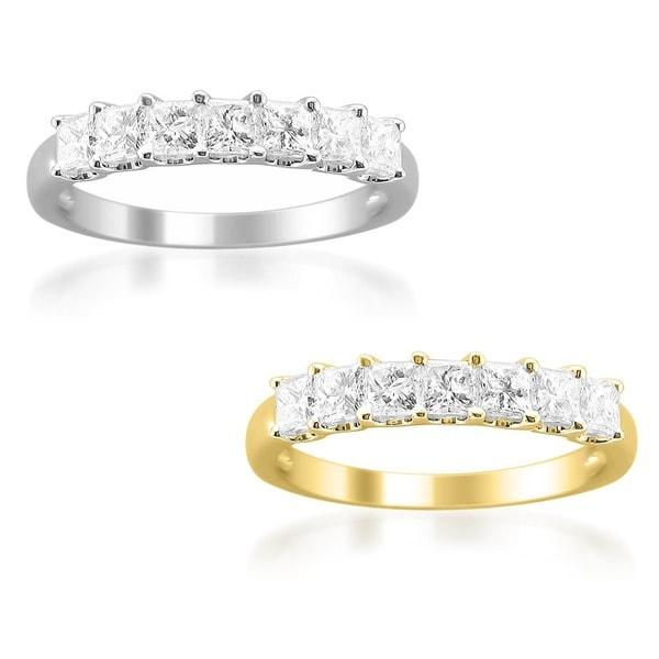 Montebello 14k Gold 1ct TDW Princess-cut Diamond Wedding Band
