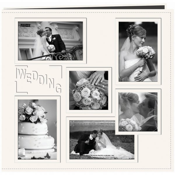 "Pioneer Collage Frame Sewn Embossed Cover Postbound Album 12""X12""-White/Wedding"