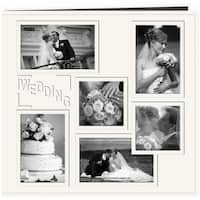 """Pioneer Collage Frame Sewn Embossed Cover Postbound Album 12""""X12""""-White/Wedding"""