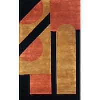 Alliyah Handmade Black New Zealand Blend Wool Rug - 8' x 10'