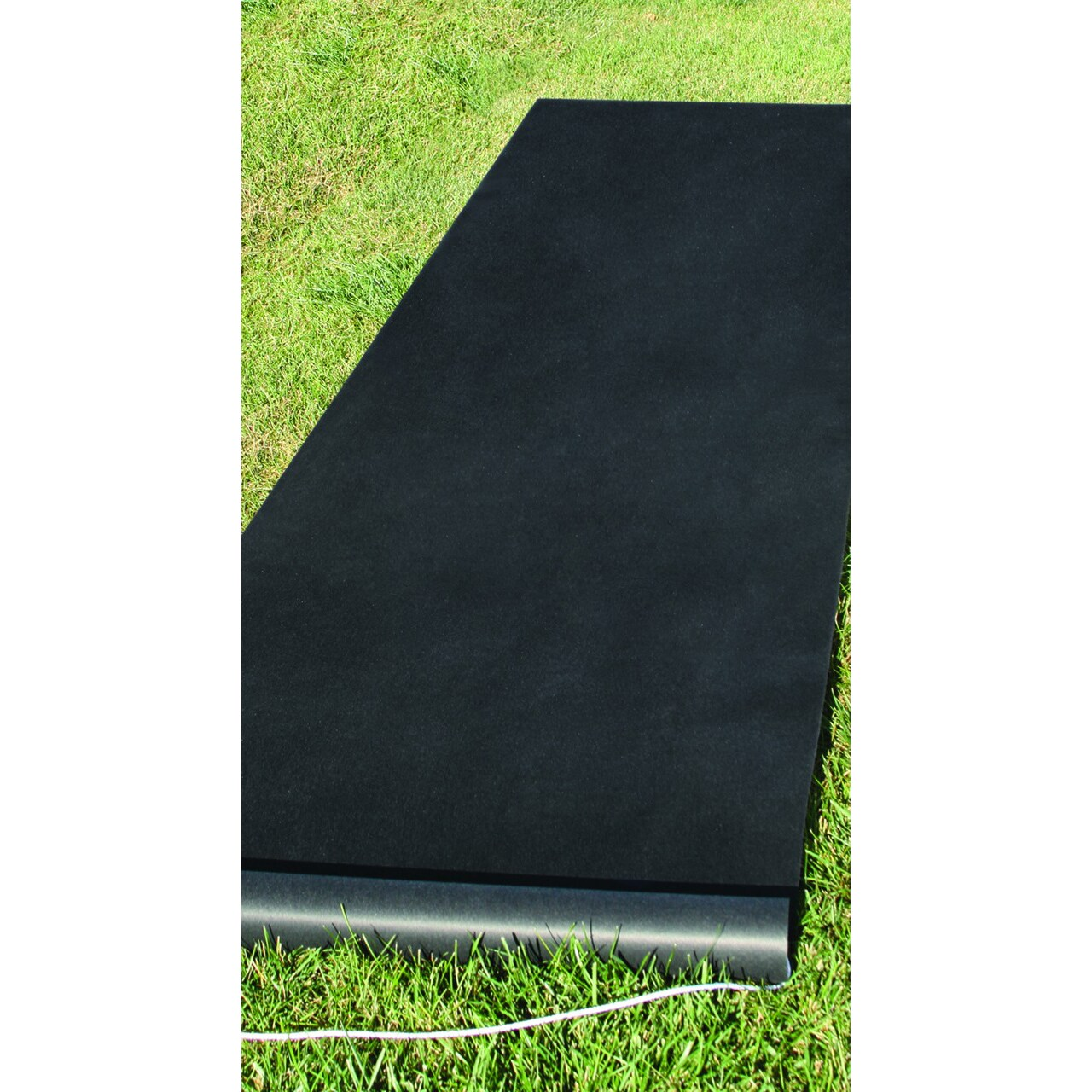 HBH Black Rayon Fabric Aisle Runner with Pull Cord