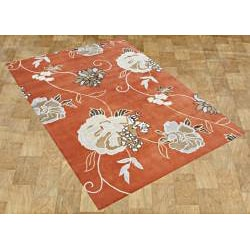 Alliyah Handmade Orange New Zealand Blend Wool Rug (9' x 12') - Thumbnail 1