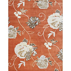 Alliyah Handmade Orange New Zealand Blend Wool Rug (9' x 12')