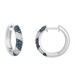 Sterling Silver 1/2ct TDW Blue and White Diamond Earrings (H-I, I1-I2)