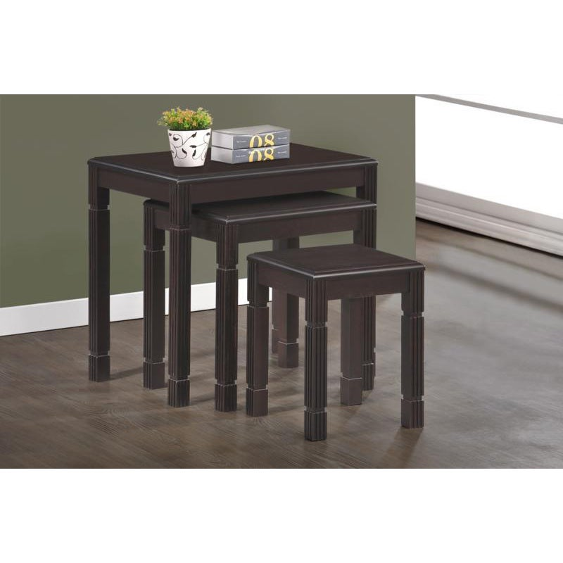 Espresso Solid Wood 3 Piece Nesting Table Set