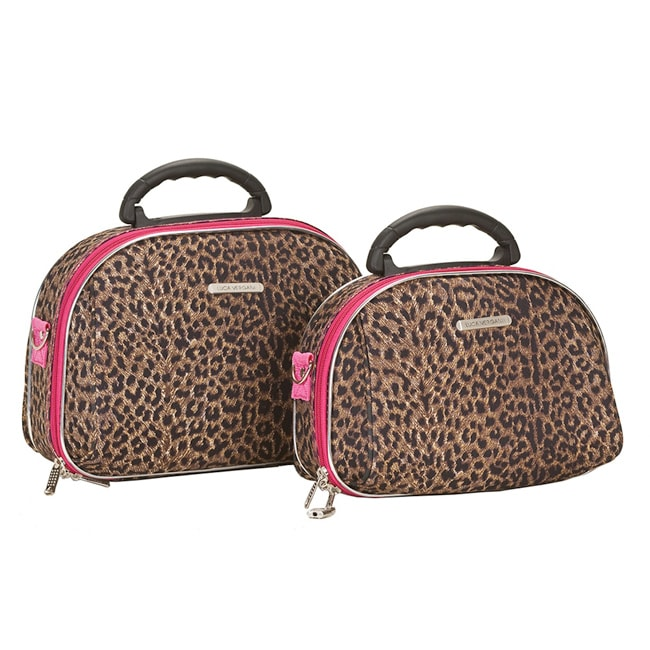 Luca Vergani Pink Leopard 2-piece Beauty Cosmetic Case Set - Thumbnail 0