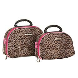 Luca Vergani Pink Leopard 2-piece Beauty Cosmetic Case Set