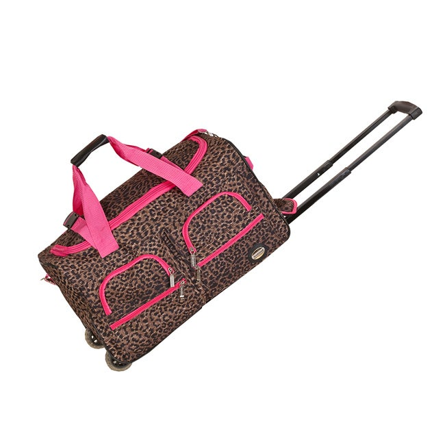 Rockland Deluxe Pink Leopard 22-inch Carry On Rolling Upright Duffel Bag