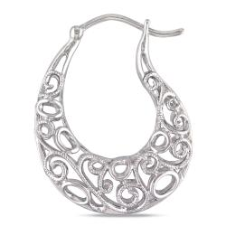 Miadora Sterling Silver Diamond Accent Hoop Earrings - Thumbnail 1