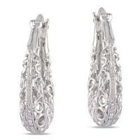 Miadora Sterling Silver Diamond Accent Hoop Earrings
