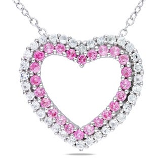 Miadora Sterling Silver Pink and White Sapphire Necklace with Diamond Accent Heart (H-I, I2-I3)