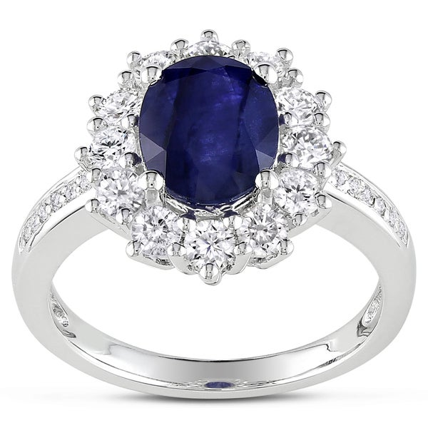 Sterling Silver Created Blue and White Sapphire Diamond Halo Engagement Ring by Miadora