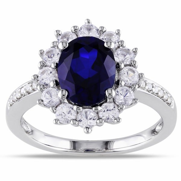 Miadora Sterling Silver Sapphire and Diamond Accent Halo Cocktail Ring