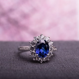 Sterling Silver Created Blue and White Sapphire Gemstone and Diamond Ring