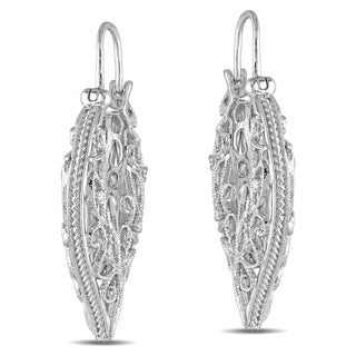 M by Miadora Sterling Silver 1/10ct TDW Diamond Hoop Earrings (H-I, I2-I3)