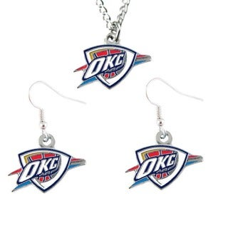 Oklahoma City Thunder Necklace and Dangle Earring Charm Set