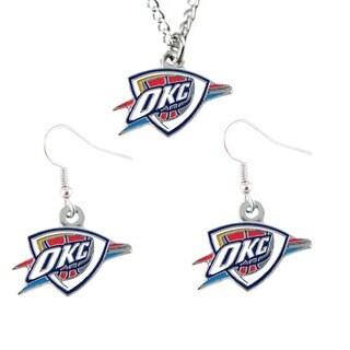 Oklahoma City Thunder Necklace and Dangle Earring Charm Set