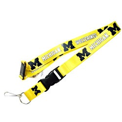 Michigan Wolverines Yellow Clip Lanyard / Keychain ID Holder