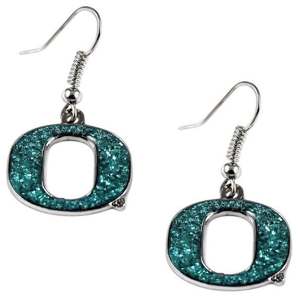 Oregon Ducks Glitter Sparkle Dangle Logo Earrings