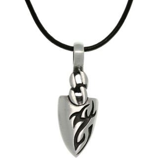 Pewter Men's Tatoo Design Arrowhead Black Leather Cord Necklace