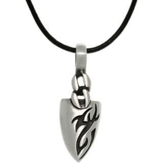 Pewter Menu0027s Tatoo Design Arrowhead Black Leather Cord Necklace