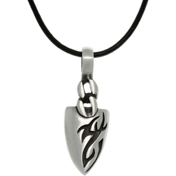 Pewter Men's Tatoo Design Arrowhead Black Leather Cord Necklace