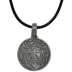 Carolina Glamour Collection Pewter Unisex Jesus Image Black Leather Cord Necklace