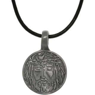 Pewter Unisex Jesus Image Black Leather Cord Necklace