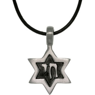 Antiqued-pewter Star of David Leather Cord Pendant Necklace