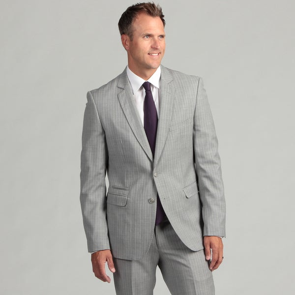 English Laundry Men's Ultra Slim Fit Grey Pinstripe Wool 2-button Suit