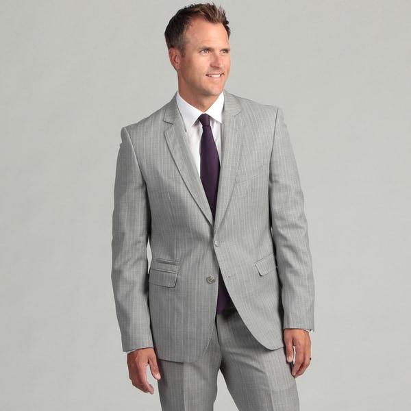 Shop English Laundry Men S Ultra Slim Fit Grey Pinstripe