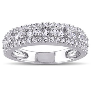 Miadora Sterling Silver Created White Sapphire Stackable Anniversary Wedding Band Ring (More options available)
