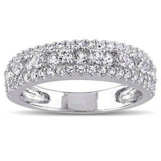 Miadora Sterling Silver Created White Sapphire Stackable Anniversary Wedding Band Ring