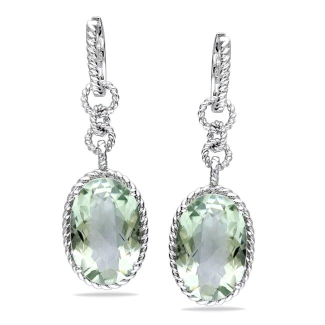 Miadora Sterling Silver Green Amethyst Dangle Earrings