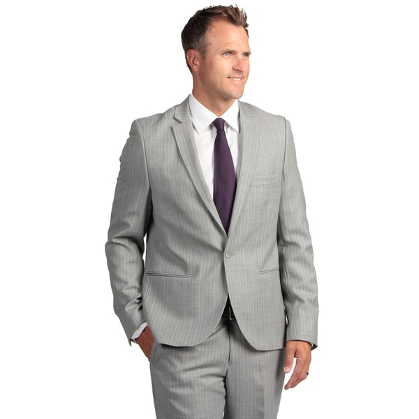 English Laundry Men's Ultra Slim-fit Grey Pintripe Wool Suit