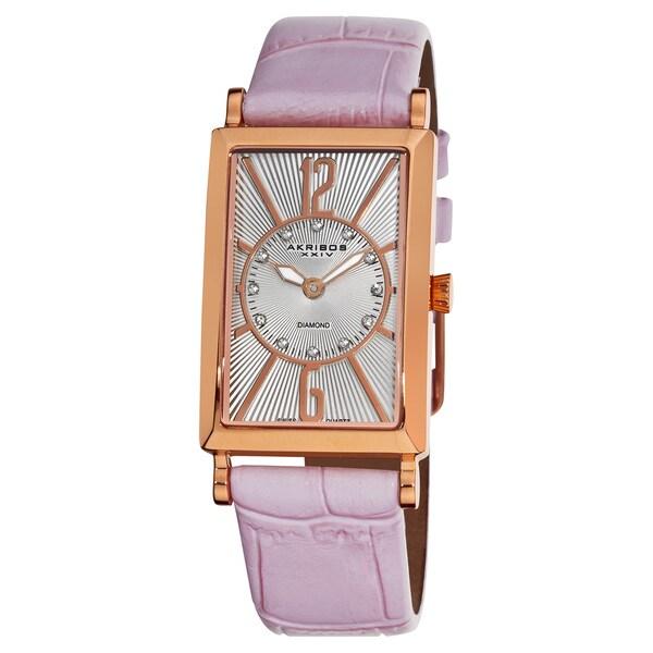 Akribos XXIV Women's Rectangular Stainless Steel Diamond Strap Watch