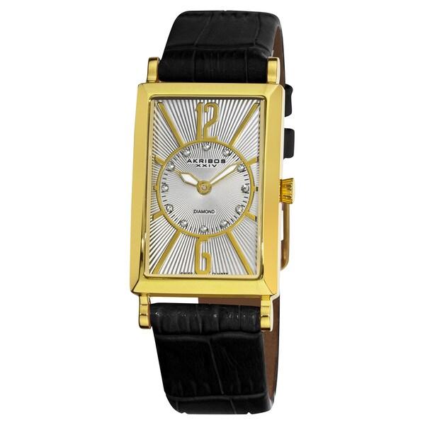 Akribos XXIV Women's Rectangular Gold-Tone Case Stainless Steel Diamond Black Strap Watch